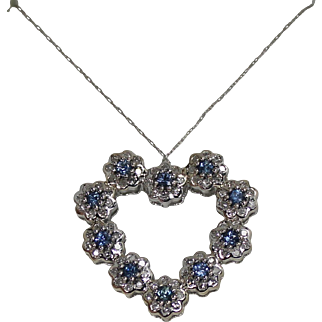 Diamond and Sapphire Flower Pendent, 14kt WG
