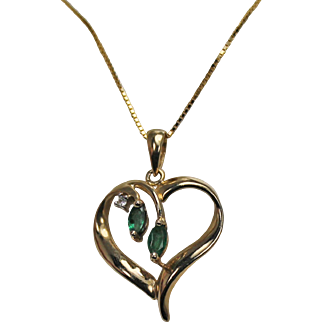 Emerald and Diamond Heart Pendant and Chain, 14 Kt YG