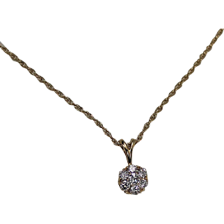 Jabel Diamond Cluster Pendant and Chain, 14Kt YG