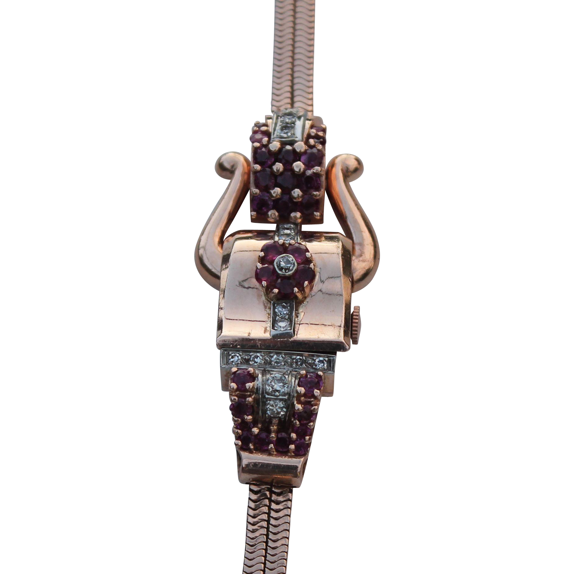 art deco 14 kt rose gold watch bracelet with diamonds and rubies from diamond dis on ruby lane. Black Bedroom Furniture Sets. Home Design Ideas