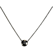 Bezel Set Diamond Pendent and Chain, 14Kt WG with 18Kt WG Chain