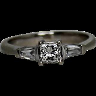 Classic Princess Cut Diamond With Baguettes, .5ctw, 14Kt WG