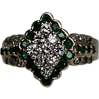 Diamond and Emerald Ring, 14kt Yellow Gold
