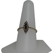 Petitte Victorian Green Tourmaline and Seed Pearl Ring, 14K Rose Gold