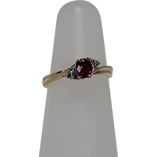 Red Topaz and Diamond Ring, 14Kt YG