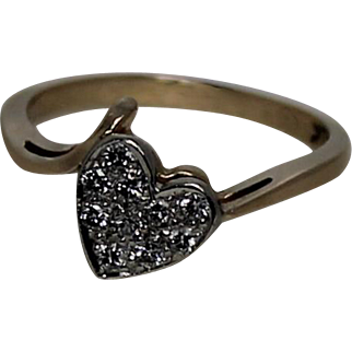 Diamond Heart Ring, 14Kt YG