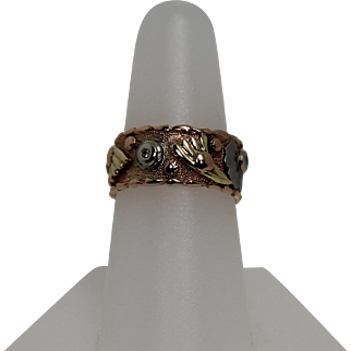 Fabulous 1940's Art Deco Eternity Band, 14Kt Rose, White and Yellow Gold