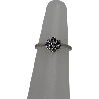 Delicate Diamond Flower Ring, 14Kt WG