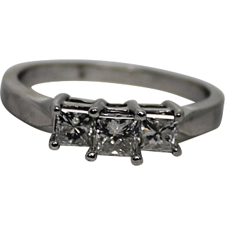 Platinum 3 Stone Princess Cut Anniversary Band, Approx 1ctw Size 9.5