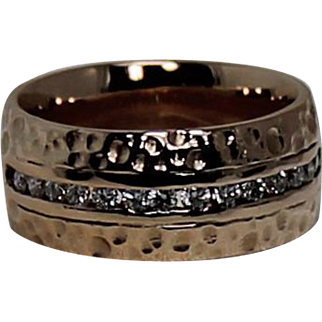 Rose Gold Wide Diamond Band, 14 Kt