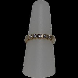 5 Stone Diamond Band, Size 8.25, 14 Kt YG
