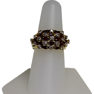 Wide Ruby and Diamond Band, 14kt YG