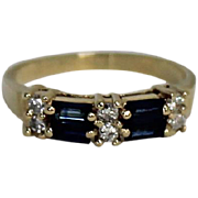 Blue Topaz and Diamond Band Ring, 14 Kt YG