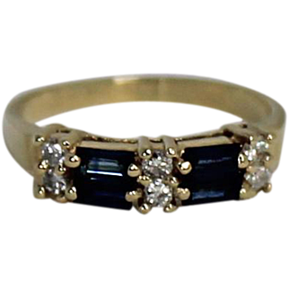Blue Topaz and Diamond Band Ring, 14 Kt YG