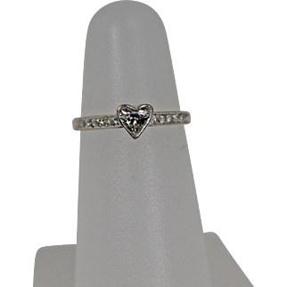 Unique Bezel Set Diamond Heart Ring, 14Kt WG Size 4.5