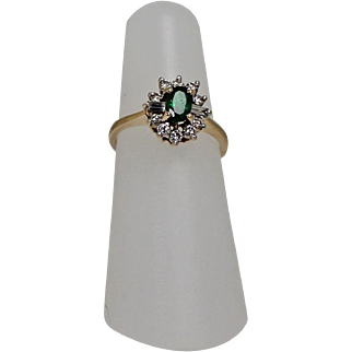 Emerald and Diamond Ring, 14Kt YG