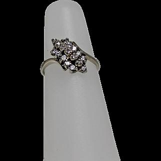 Diamond Waterfall Ring, 10 K WG