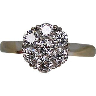 Diamond Cluster Ring, Approx. .85 CTW, 18K WG