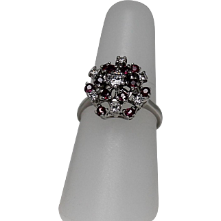 Beautiful Diamond and Ruby Cluster Ring, 14Kt WG