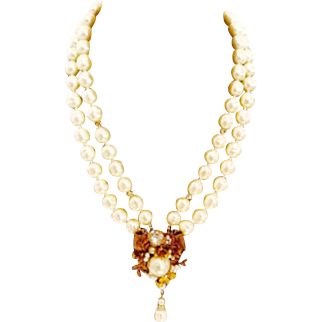Miriam Haskell Double Stranded Baroque Faux Simulated Pearl Necklace