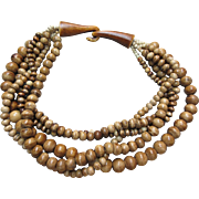 Tribal Carved Bone Bead Necklace Multi Strand Chunky Antique