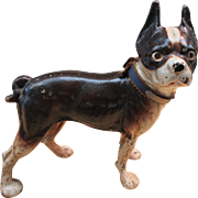 ANTIQUE HUBLEY CAST IRON DOG DOORSTOP BOSTON TERRIER FRENCH BULLDOG