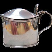 Victorian English Sterling (925) Silver Mustard Pot Cobalt Glass London Circa 1893)