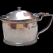Art Nouveau English Sterling (925) Silver Mustard Pot Cobalt Liner (London Circa 1923)