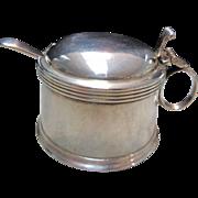 Art Nouveau Victorian London England Sterling Silver Mustard Pot Cobalt Liner Art Deco by W&W