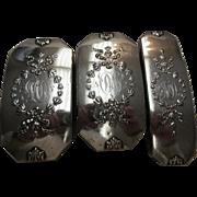 Art Nouveau 1908 Madam Jumel Sterling Silver Cloths Brush set of 3