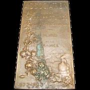 """Signed FRENCH BRONZE PLaque ART NOUVEAU """"SECURITE ECONOMIE"""" 1873-1923"""