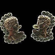 Vintage Hand Made in Greece 8K Rose Gold & Sterling Silver CuffLinks Michelangelo's David