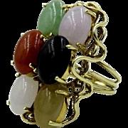 Rare Impressive Vintage Mikimoto 18k yellow gold Wire Multicolor Jade stone Ring