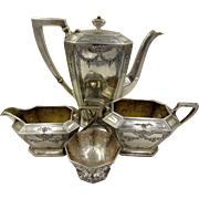 Victorian Durgin Sterling Silver 4-Pc Coffee / Tea Set, Ornately Chased, No Monograms