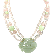 Vintage Chinese Export CARVED Jade Pendant Rose Quartz MELON BEAD NECKLACE 14K Gold Clasp