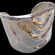 Vintage ALICIA Mexico Taxco Heavy 950 Sterling Silver Wide Cuff Bracelet 104 gr.