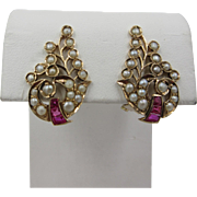 Art Deco 14k Yellow Gold Ruby Pearl Clip Earrings