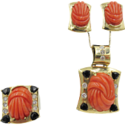 Hubert Red Carved Coral,14K Gold 1.95 CT Diamond Sapphire Pendant, Earrings & Ring Set