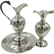 Antique Sterling Silver Claret Pitcher Ewer Jug Griffin Handle Tray Bud Vase Set