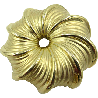 Magnificent Judith Leiber 18K Solid Gold Swirl Pin Brooch Heavy 31.2 grams