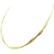 "Vintage Italian Solid 14k Yellow Gold Omega Link Chain Necklace ~ 17"" ~ 16.8 Grams"