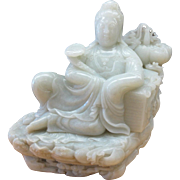 Rare Massive Chinese White Jade Guanyin carved Buddha figure statue Carving