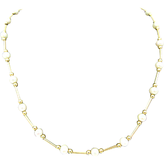 Vintage Solid 14k Yellow Gold Tube & Bead Chain Station Pearl Necklace 18""