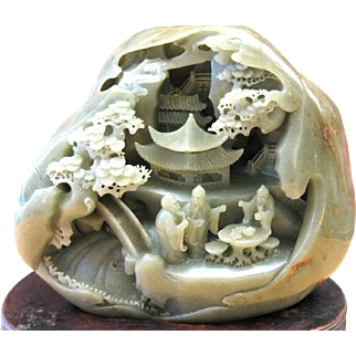 Rare Huge Xinyiang Hetian Carved Cylinder Jade 3 Old Chinese Men carving 10 Kilo