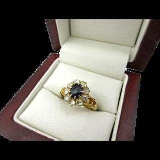 Antique Victorian Era Rose Cut Diamond 1.30ct + Sapphire 18k Gold Ring