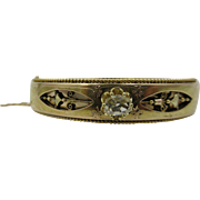 Victorian French 18k Yellow Gold Diamond Hinged Bangle Bracelet