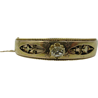 Victorian French 18k Yellow Gold Diamond Hinged Bangle Bracelet