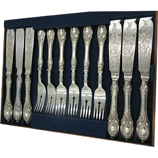 Antique Victorian 1858 Henry Wilkinson London SilverPlate Fish Set of 12 Fork Knife