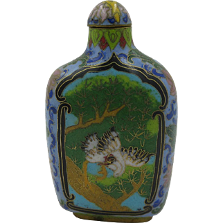 Ching Dynasty Antique Chinese Snuff Bottle Cloisonne Gold guilt