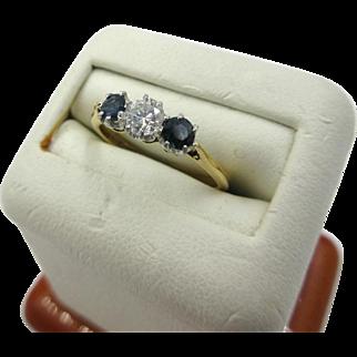 Antique English 18ct 18k Gold VVS1 Diamond .25ct + Sapphire Women's Ring